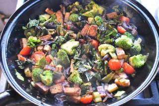 Gebakken Cavolo Nero met tofucroutons en broccoli