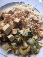 Gesmoorde tofu in karamelsaus met kokosrijst en gebakken kokos
