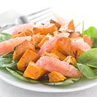 Salade van geroosterde bataat en grapefruit